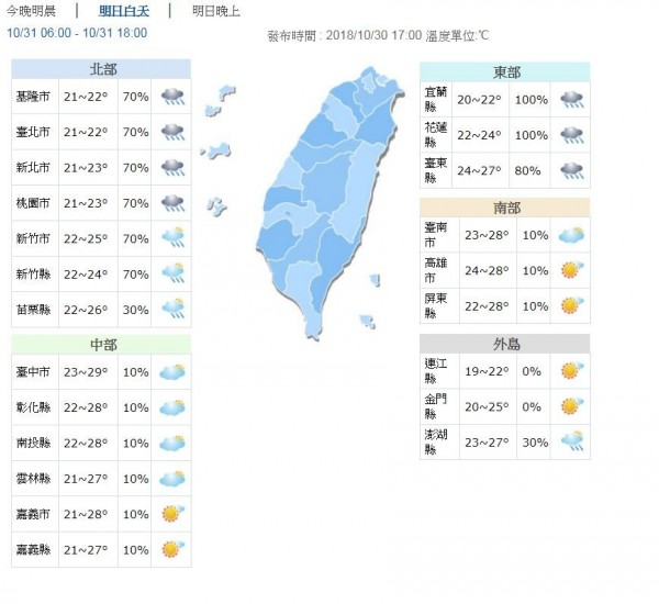 明日北部、東部早晚低溫約19至22度,白天高溫約22至27度;中南部較為涼爽,早晚低溫約21至24度,高溫約27至29度。(圖擷取自中央氣象局)