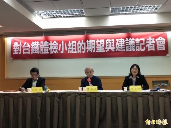 對於台鐵改革,中華民國運輸學會今天提出5大訴求。(記者陳宜加攝)