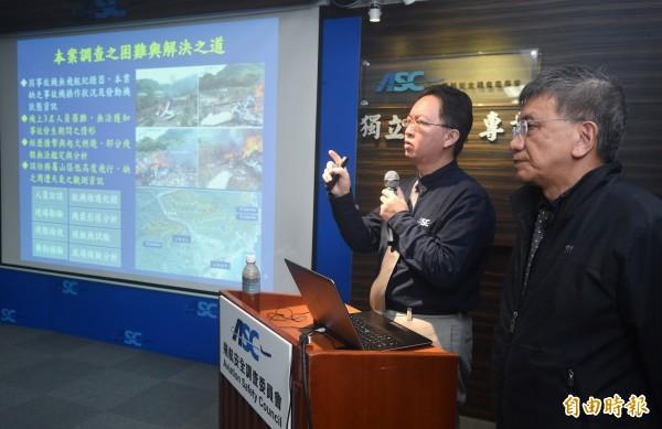 「看見台灣」導演齊柏林去年在事故中喪生,飛安會今天公布最終調查報告,還原事發前關鍵30秒,直升機因不明原因急速下降。(記者廖振輝攝)