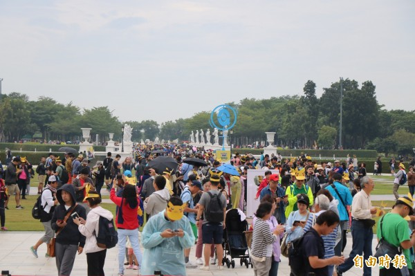 Pokémon GO Safari Zone in Tainan登場,首日就有許多玩家湧入主場館奇美博物館。(記者萬于甄攝)