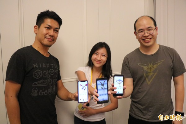 Niantic公司3位負責人這次活動也親自到台南同樂。(記者萬于甄攝)