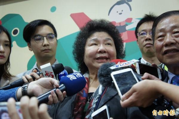 國民黨高雄市長候選人韓國瑜日前拋出若當選不准政治抗議的言論,引發爭議。總統府秘書長陳菊批評,韓國瑜在國民黨威權陣營中長大,不了解民主多麼可貴。(記者賴筱桐攝)