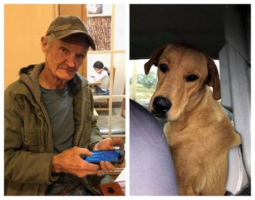 美國新墨西哥州的74歲男子吉利根(圖左)上週被愛犬查理(圖右)「槍擊」險死。(圖擷取自「Las Cruces Sun News」)