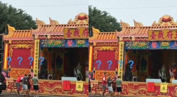 4名外籍遊客誤將歌仔戲演員看做神明,對其膜拜。(圖擷取自爆廢公社)