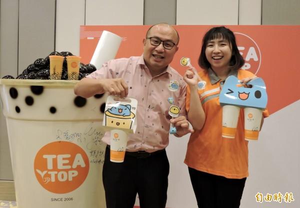 楊心慈(右)的行銷構想得到爸爸楊國珍的支持。(記者張菁雅攝)