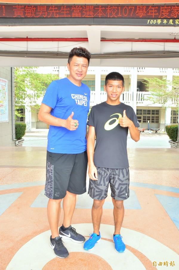 魏浩倫(右)在全中錦表現精彩,是教練胡文瑜(左)第4位雙金選手。(記者吳俊鋒攝)