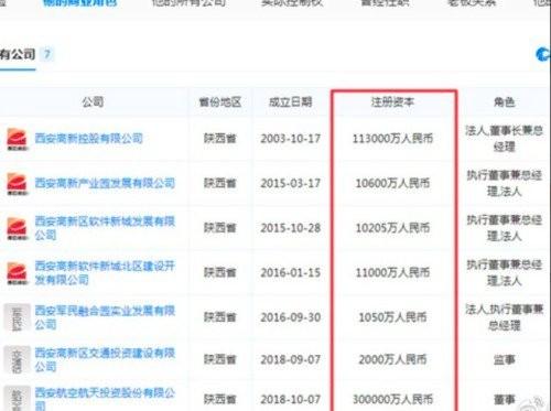 中國西安高新控股董事長李甜名下,共掛著7家公司董事及高管,被傳是西安官場鬥爭下的產物。(圖擷取自網路)