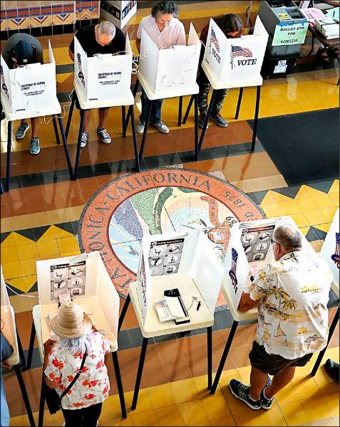 加州聖塔莫尼卡選民六日在設於市政廳的投票所投票。(歐新社)