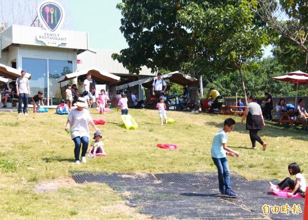 員林百果山探索樂園滑草場吸引許多親子遊戲,家長多半遵守規矩,牽繫繩滑下。圖非新聞當事人。(記者陳冠備攝)