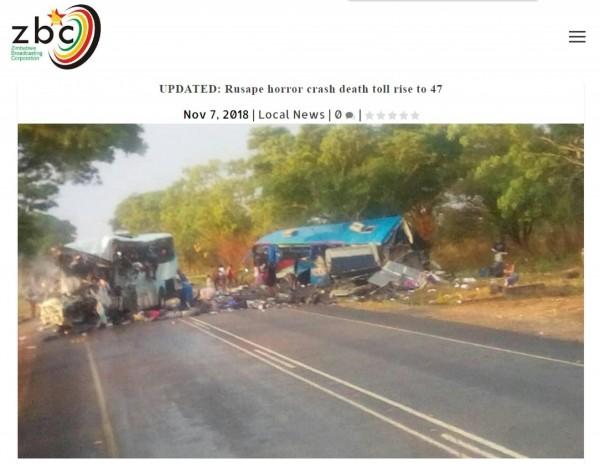 辛巴威昨(7)日下午,有兩輛公車在連接首都哈拉雷與第三大城穆塔雷的公路上,迎面相撞,目前造成至少47死、70傷,為該國死傷第2慘重的車禍。(翻攝自辛巴威《ZBC》)