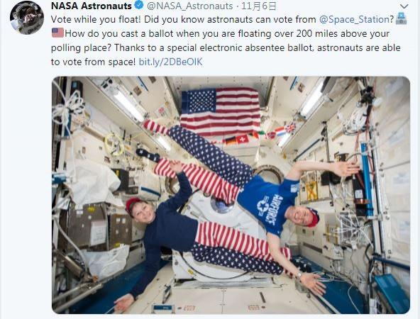 美國太空人一樣可以在外太空行使投票權,但能否成功就要看運氣了。(圖片擷自NASA astronauts twitter)