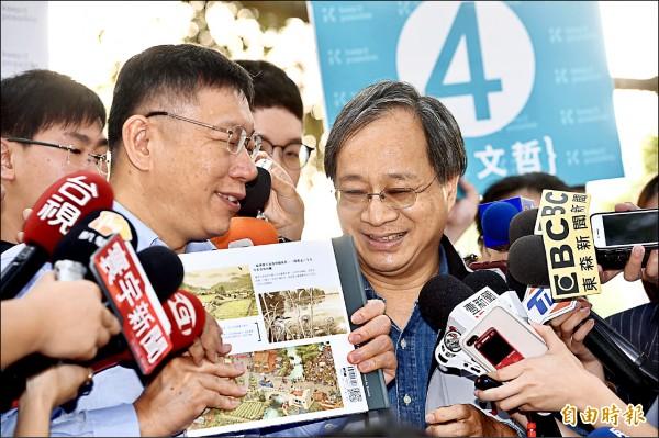 台北市長柯文哲昨替小野緩頰,指他是很單純的文化人,現在「只是被火燙到」。(記者羅沛德攝)