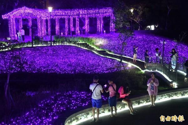 四重溪溫泉季紫色薰衣草燈海絕美。(記者蔡宗憲攝)