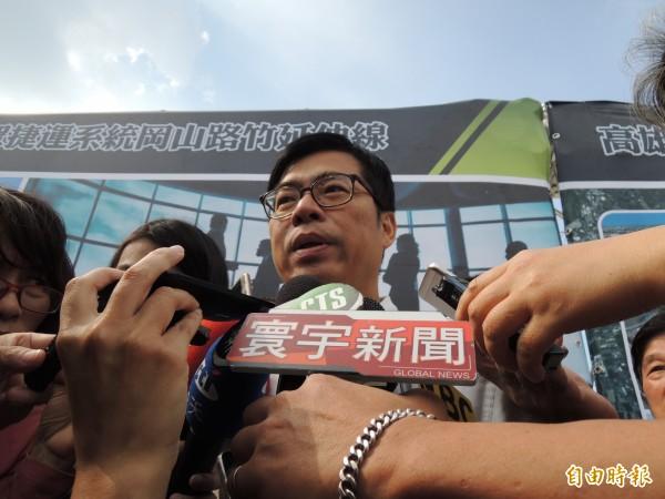 陳其邁批評帶耳機上政見會的假圖是系統性造謠,會傷害台灣民主(記者王榮祥攝)