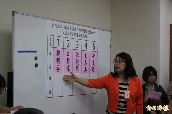 5位候選人依抽籤排定發言順序。(記者張聰秋攝)