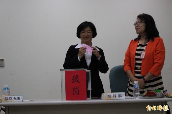 國民黨彰化縣長候選王惠美,政見會上抽到第4個發言順序。(記者張聰秋攝)