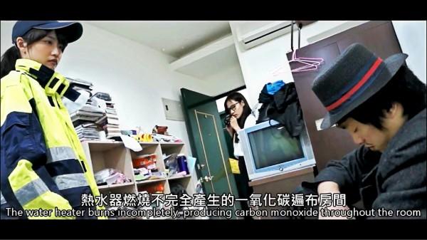 陳允文為宣導一氧化碳中毒,以動畫「名偵探柯南」的方式呈現。(記者曾健銘翻攝)