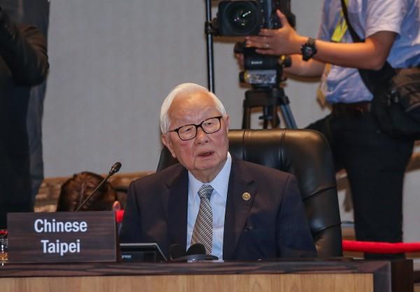 領袖代表張忠謀在APEC領袖會議中發言。(中華台北代表團提供)