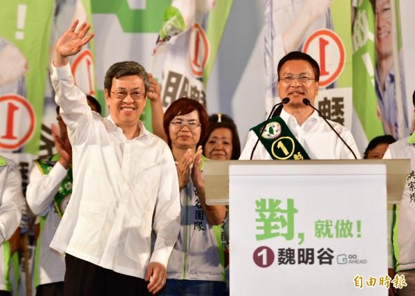 魏明谷今晚在溪湖鎮舉行造勢晚會,副總統蔡陳建仁擔綱壓軸助選。(記者陳冠備攝)