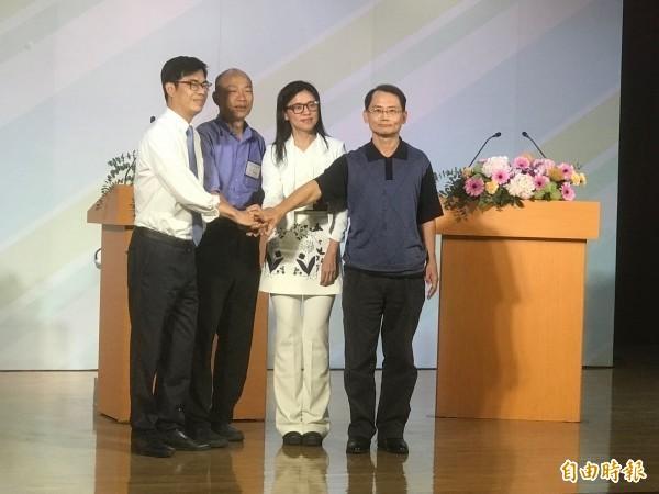 日前舉行的高雄市長電視公辦政見會。(資料照)