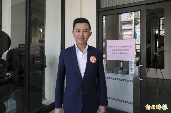 新竹市第2場公辦政見會,爭取連任的新竹市長林智堅以感性訴求,呼籲市民及首投族,為了「明日新竹」踴躍出來投票。(記者洪美秀攝)