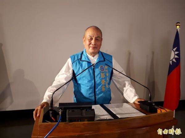 新竹市長選舉第2場公辦政見會登場,無黨籍候選人郭榮睿表示要成立幼兒培育處來照顧幼兒發展。(記者洪美秀攝)