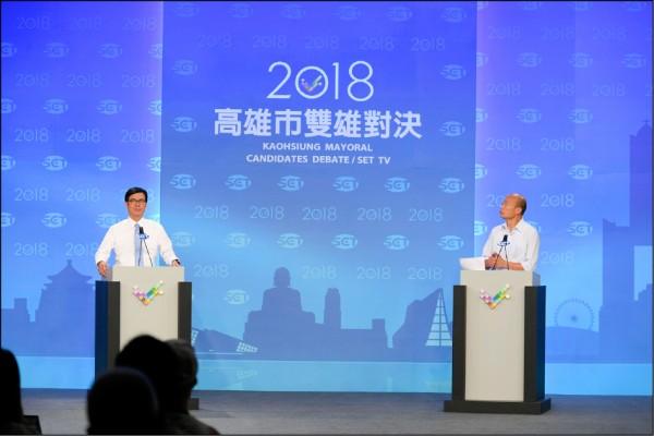 高雄市長選舉昨舉行電視辯論。(三立提供)
