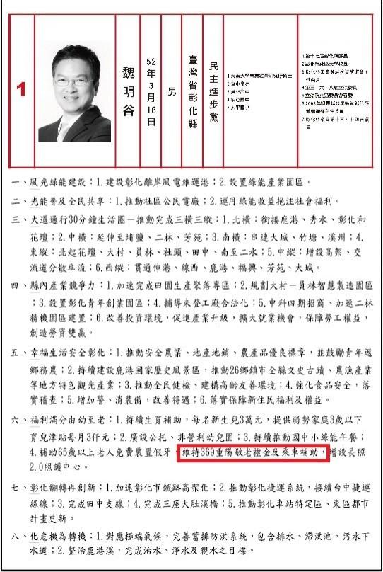 魏明谷選舉公報政見。(魏明谷競選總部提供)