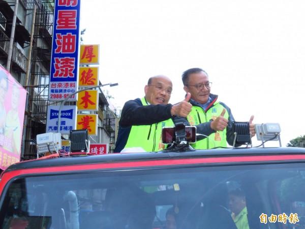 民進黨新北市長候選人蘇貞昌今天下午在綠營票倉三重車隊掃街催票。(記者陳心瑜攝)