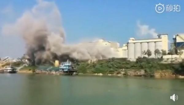中國廣西南寧1間水泥工廠驚傳爆炸,但官方出面澄清。(圖擷取自影片)
