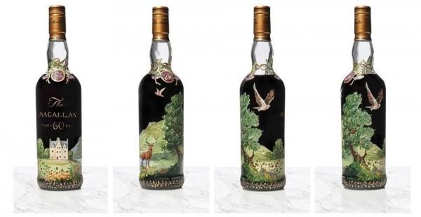 英國倫敦佳士得拍賣行售出由3位藝術家設計酒瓶的60年麥卡倫威士忌,成交價達到120萬英鎊(約新台幣4718萬元)。(圖擷自The Macallan臉書)