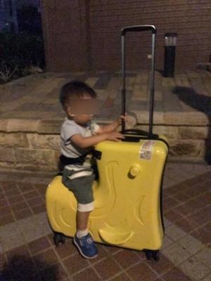 臉書上有媽媽PO出1款「行李箱兼兒童推車」,讓網友大讚看起來也太實用。(圖擷取自臉書「爆廢公社」)
