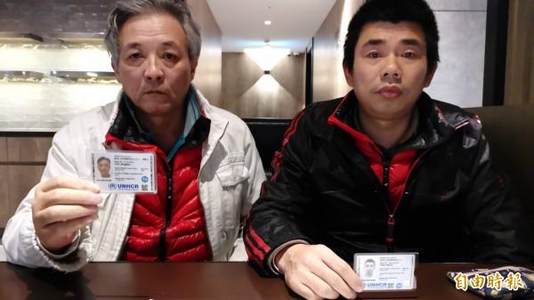 士劉興聯(左)及顏克芬(右)自今年9月27日過境轉機時,突然申請政治庇護,至今兩人在機場滯留超過70天。(記者姚介修攝)