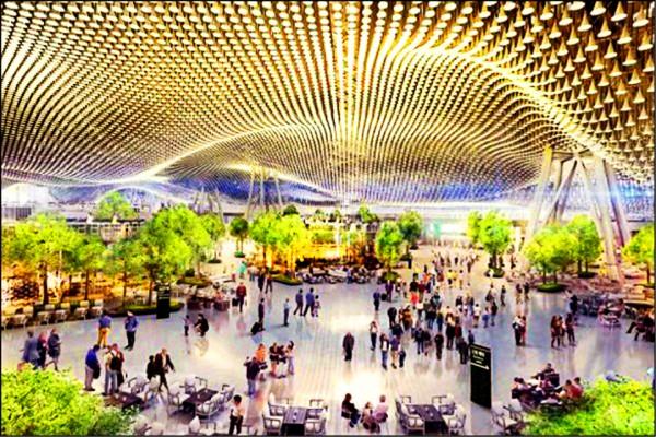 桃園機場第三航廈最大亮點為「雲頂天花」流動造型管,展現台灣工藝高超技術。 (資料照,桃機公司提供)