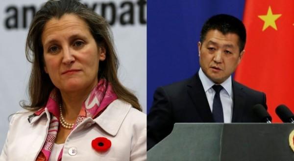 方慧蘭(左)表明加國考慮與台簽署投保協議,陸慷(右)做出回應。(左圖法新社,右圖路透,本報合成)