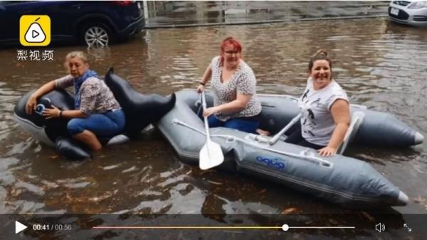 多位墨爾本市民划輕艇通勤上下班。(圖擷取自梨視頻)