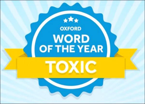 英國牛津字典今年的代表字為「toxic」,其中文意思為「有毒的」或「有害的」,據信該單字搜尋量遽增與「Me Too」女權運動有關。(取自網路)