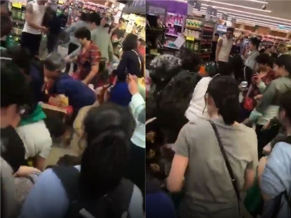澳洲墨爾本最近有一家賣場,出現中國人搶奶粉潮,甚至有人直接撲上去搶,讓澳洲當地人嚇傻。(圖擷取自微博)
