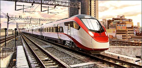 瑞士Stadler投標台鐵購車案車型,採紅白黑為設計主色。(資料照,模擬圖,Stadler提供)
