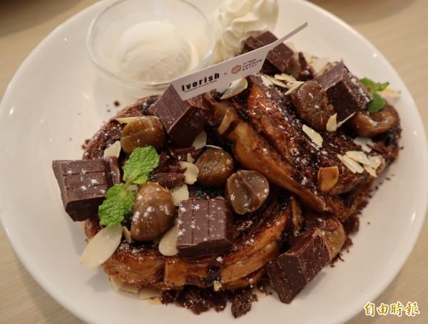 台灣限定的福灣莊園巧克力棉花糖法式吐司。(記者歐素美攝)