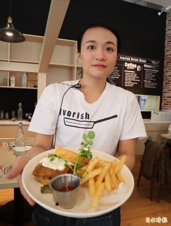 日本人氣法式吐司Ivorish來台,照燒雞肉等鹹味法式吐司天天熱銷。(記者歐素美攝)