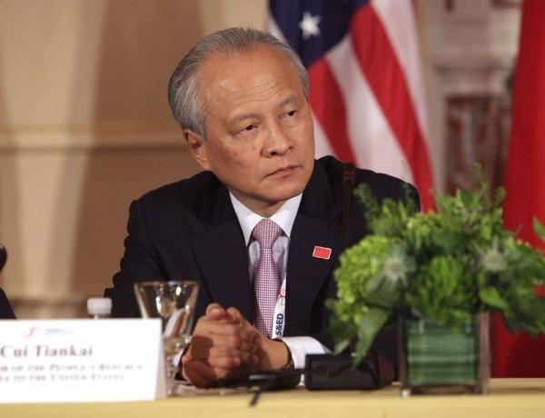 中國駐美大使崔天凱21日表示,當前中美關係並非處於「冷卻期」,而是處在「熱身期」。(法新社)