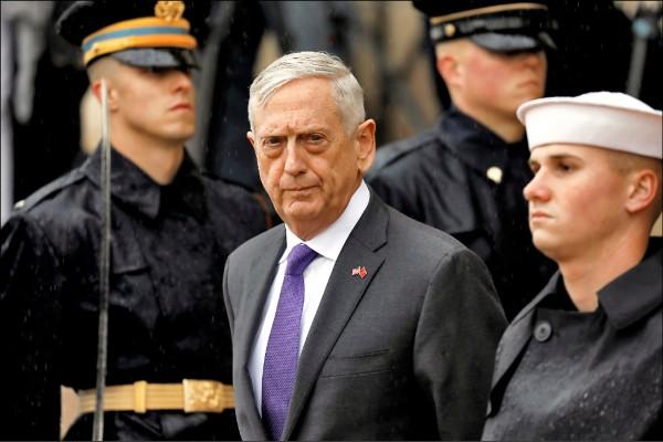 深受共和、民主兩黨人士敬重的美國國防部長馬提斯,將提前去職。(路透檔案照)