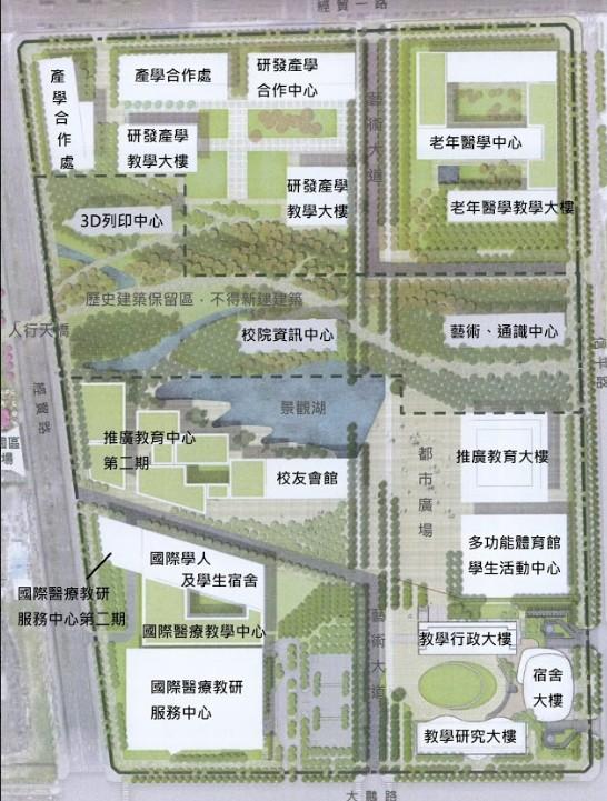 中國醫大水湳校區未規畫戶外操場或球場。(中醫大學生水湳金雞母社提供)