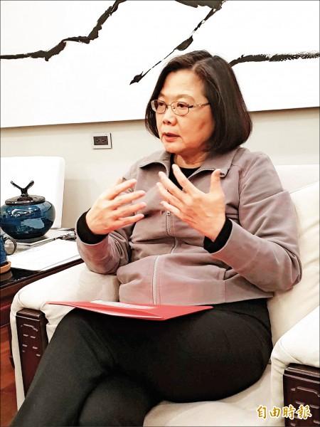 蔡總統與媒體茶敘時明確表示,他並沒有向前行政院長蘇貞昌提組閣一事。 (記者李欣芳攝)