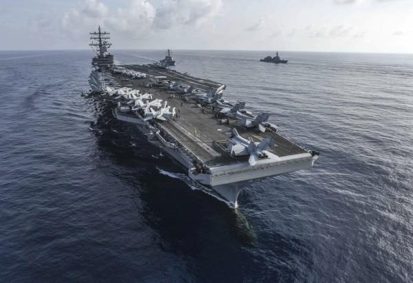 美國航空母艦雷根號。(美聯社)