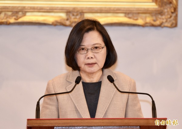 總統蔡英文回應習近平,台灣不接受九二共識。(記者朱沛雄攝)
