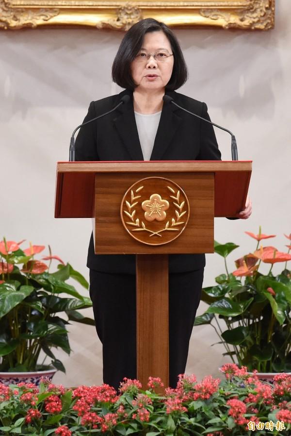 蔡總統強調,台灣絕不會接受一國兩制,絕大多數台灣民意也堅決反對,而這也是台灣共識。(記者朱沛雄攝)