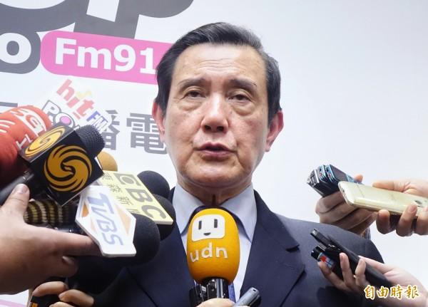 前總統馬英九今接受廣播電台專訪,指蔡英文總統拒絕九二共識升高兩岸衝突。(記者朱沛雄攝)