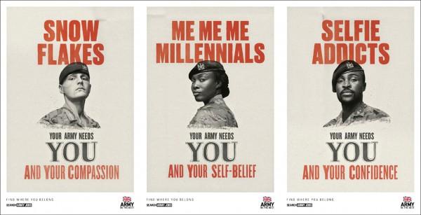英國陸軍推出一系列創意海報,號召雪花世代(左)、千禧世代(中)、自拍成癮者(右)等年輕族群從軍。(取自紐約時報)